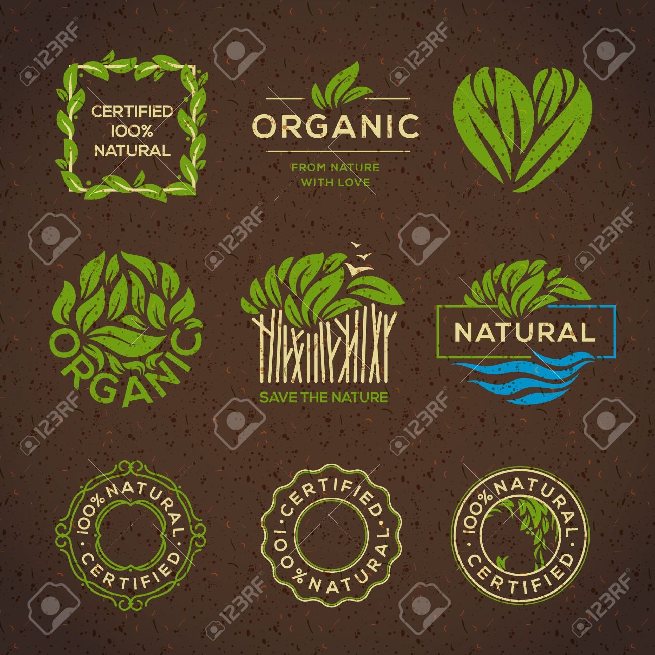 Organic food labels and elements, set for food and drink, restaurants and organic products vector illustration. Standard-Bild - 37153868