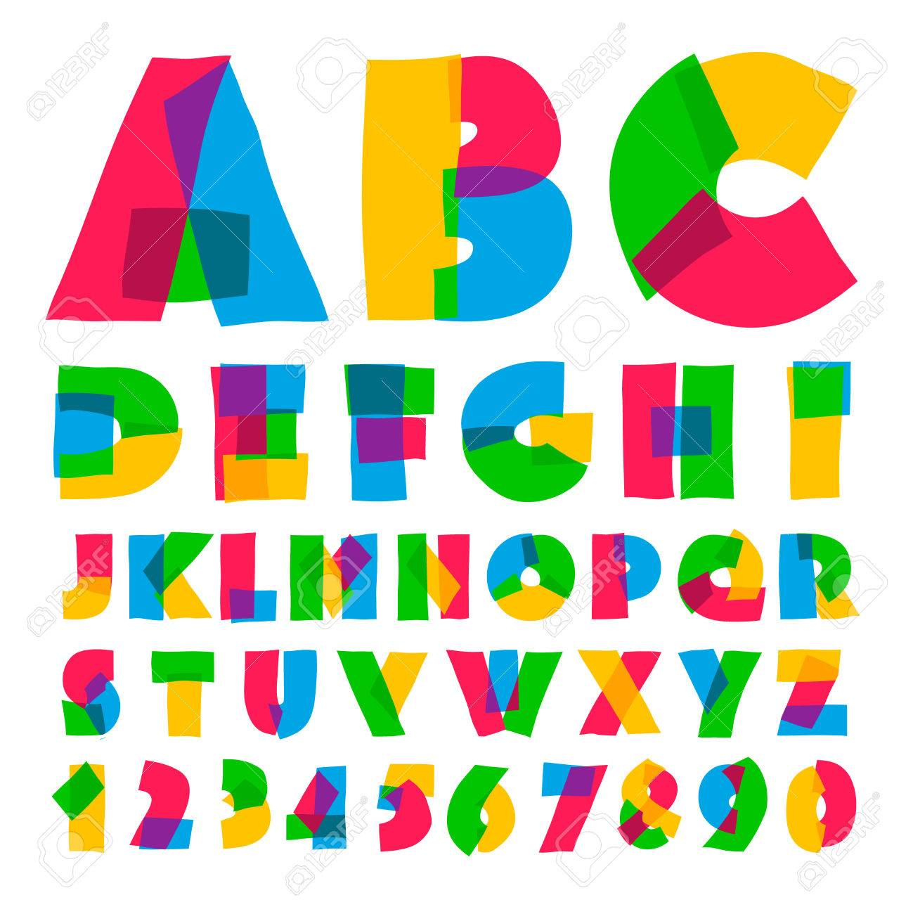 Colorful Kids Alphabet And Numbers, Vector Illustration. Royalty ...