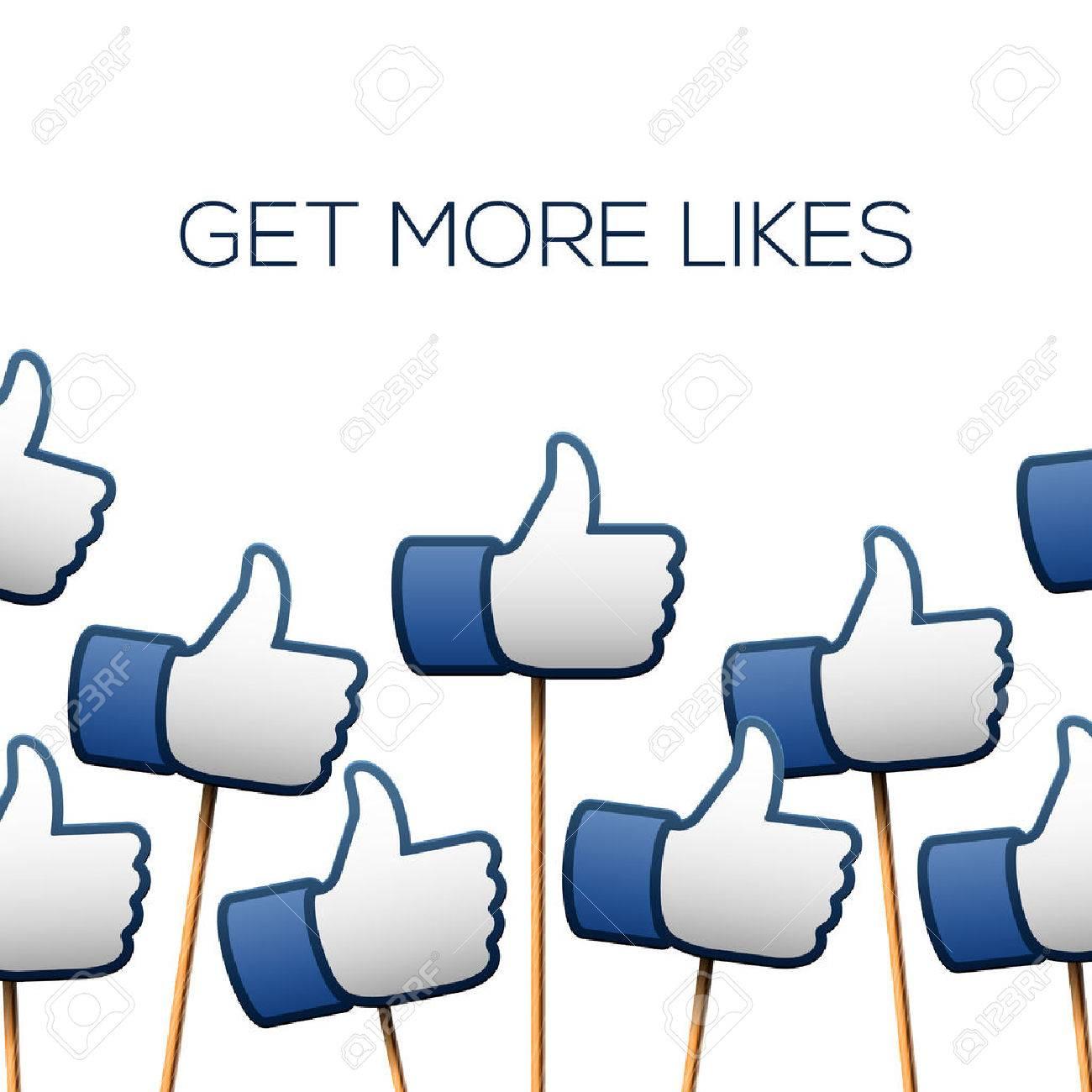 Like thumbs up symbols. Get more likes, vector illustration. Standard-Bild - 38732227