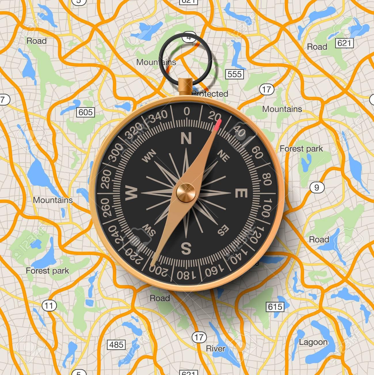Alte Kompass auf der Karte Hintergrund Vektor-Illustration. Standard-Bild - 38860282