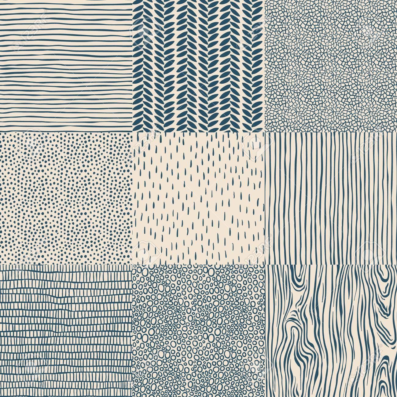 Seamless floral vintage pattern set, vector illustration. Standard-Bild - 39767309