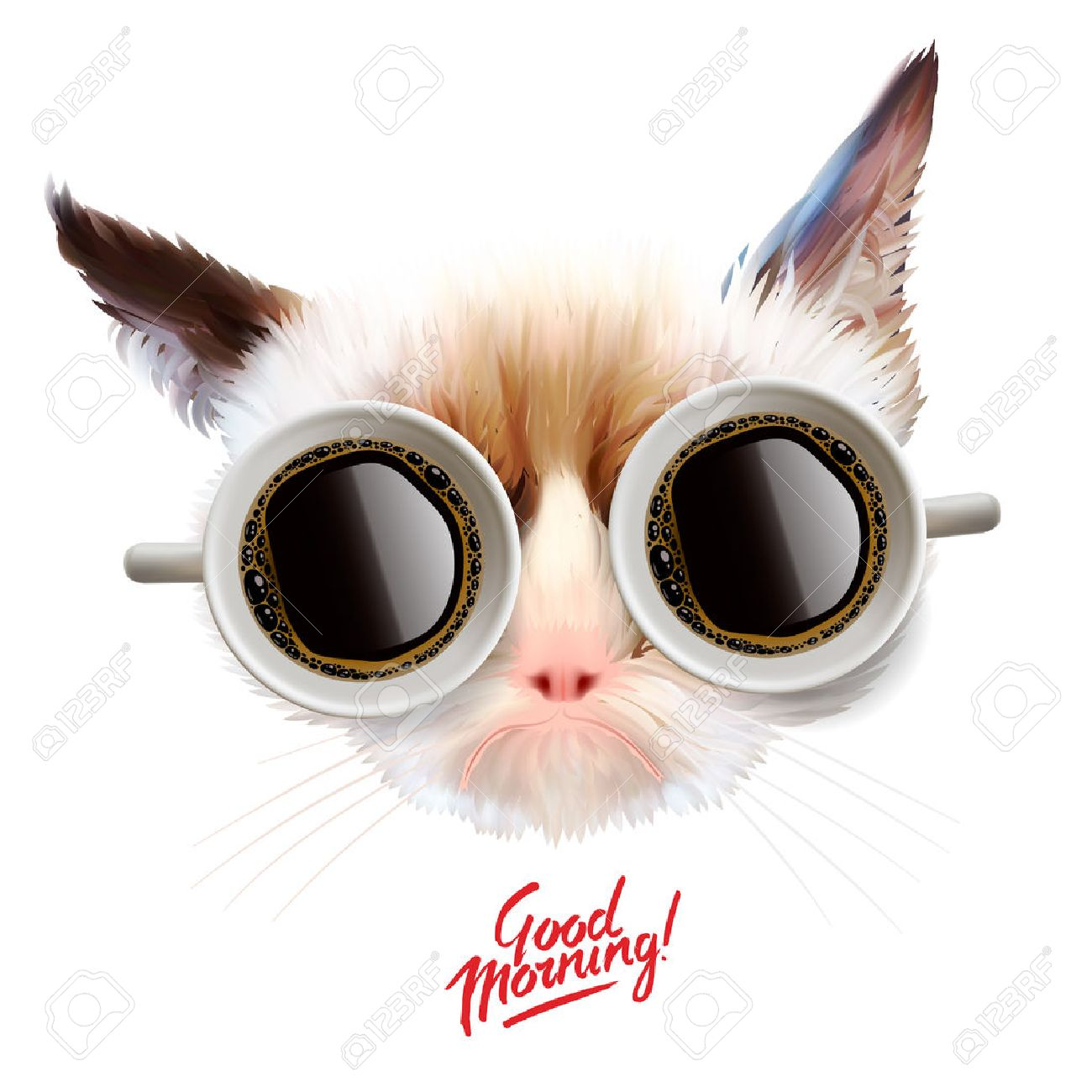 Funny cat with cups of coffee glasses, illustration. Standard-Bild - 42394442