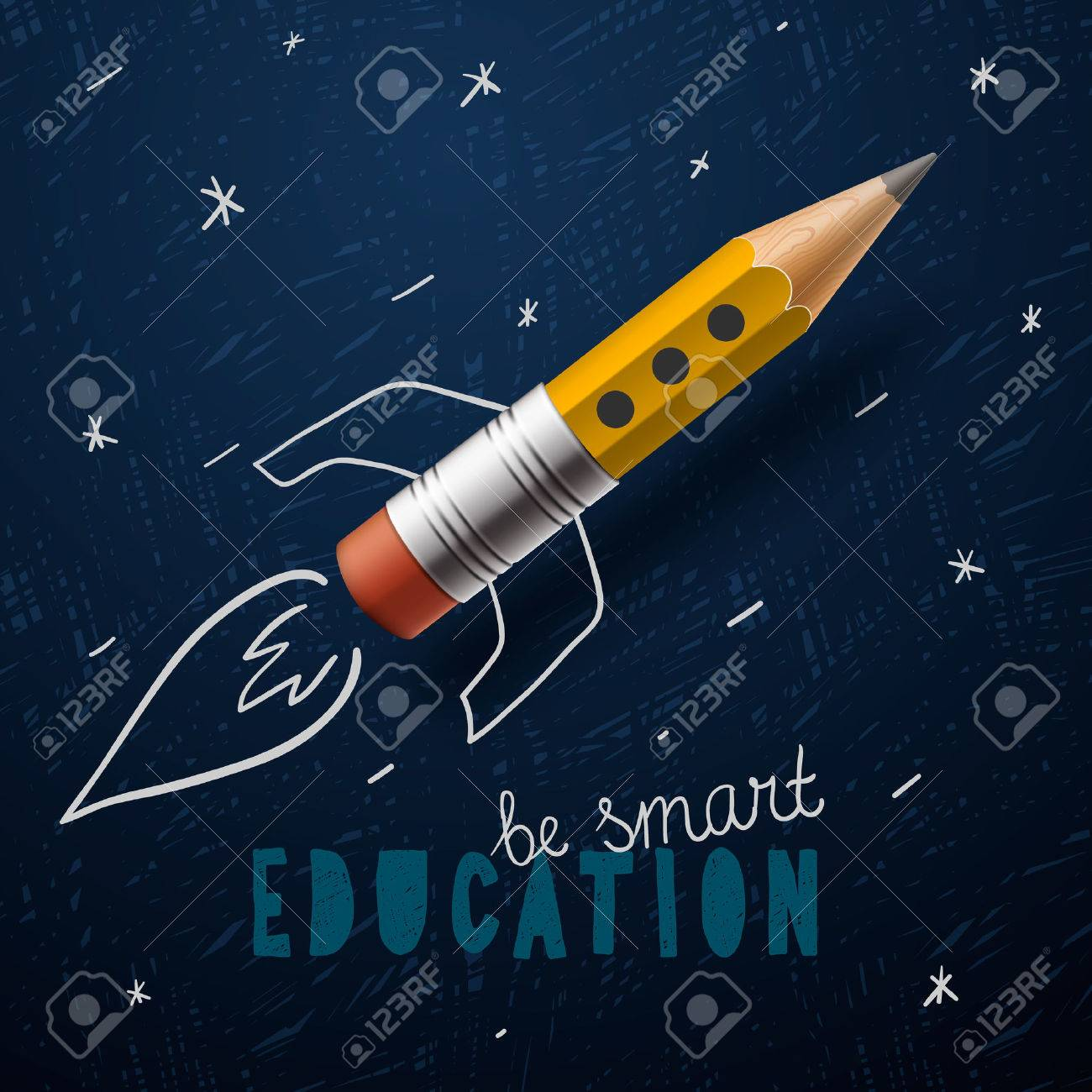 Smart education. Rocket ship launch with pencil Standard-Bild - 42395246
