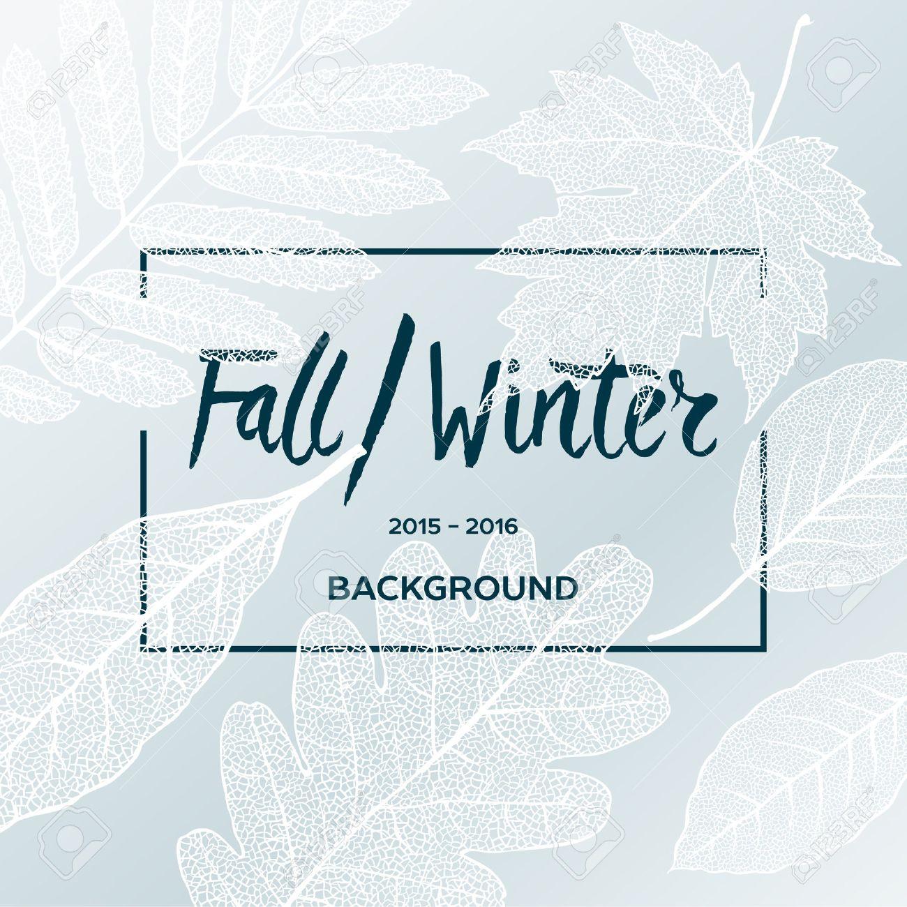Herbst Winter Verkauf Poster mit Blättern Hintergrund und einfachen Text, Vektor-Illustration. Standard-Bild - 47258897