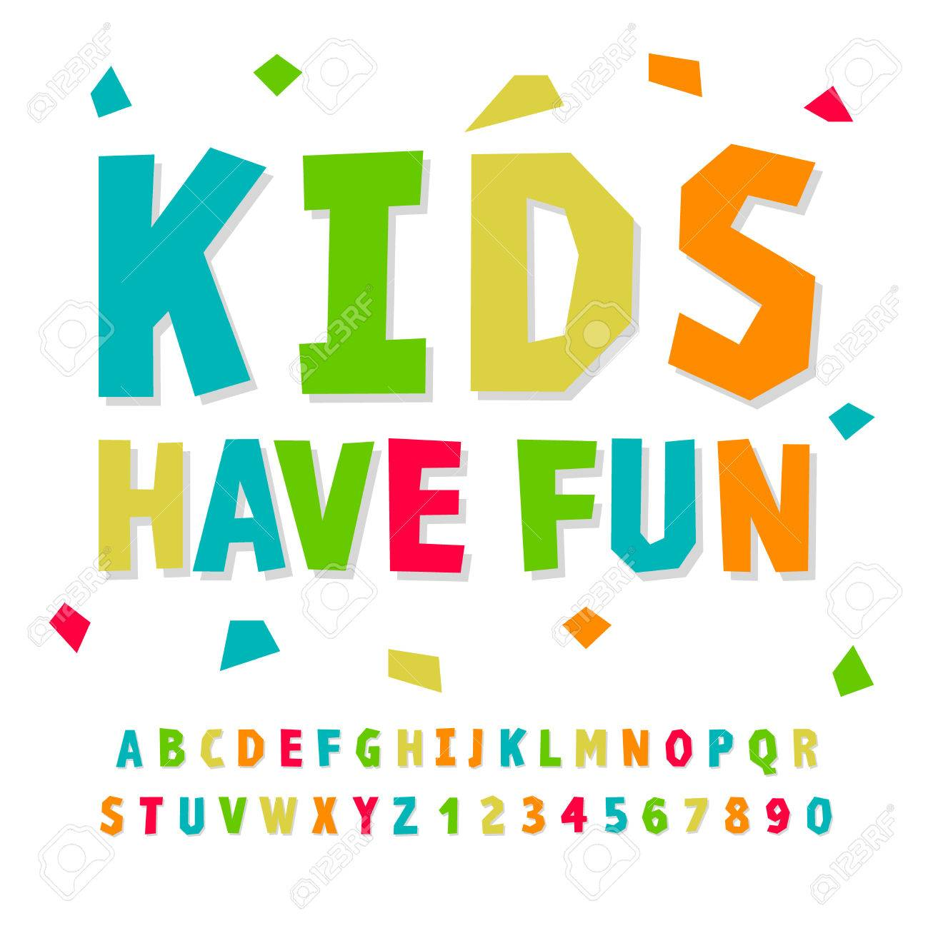 Creative Kids Funny Alphabet And Numbers Vector Illustration Stock