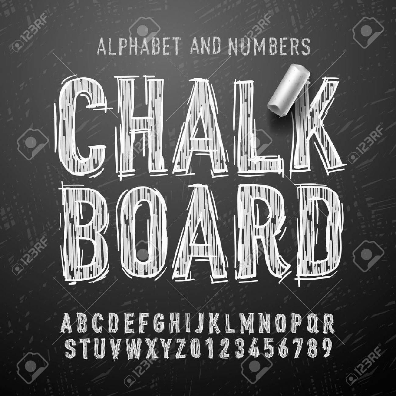 Chalk alphabet letters and numbers, vector Eps10 illustration. Standard-Bild - 47474223