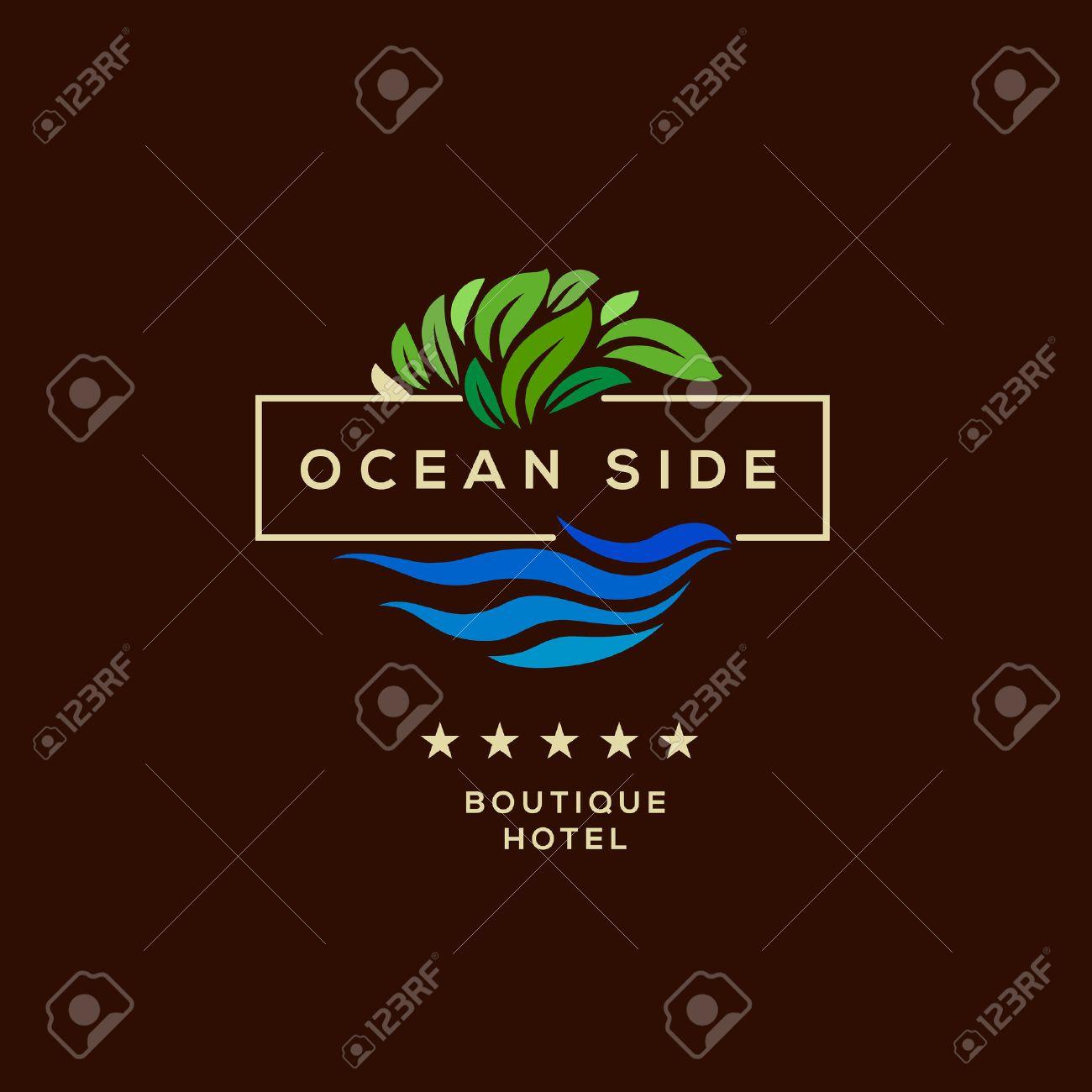 Logo for boutique hotel, ocean view resort, logo design, vector illustration. Standard-Bild - 48013764