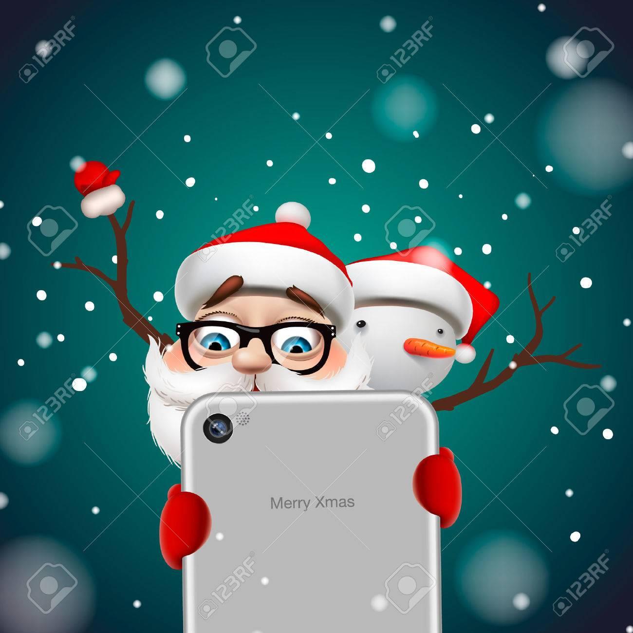Grußkarte, Weihnachtskarte mit Santa Claus, Hirsch und Schneemann, Vektor-Illustration. Standard-Bild - 47864095