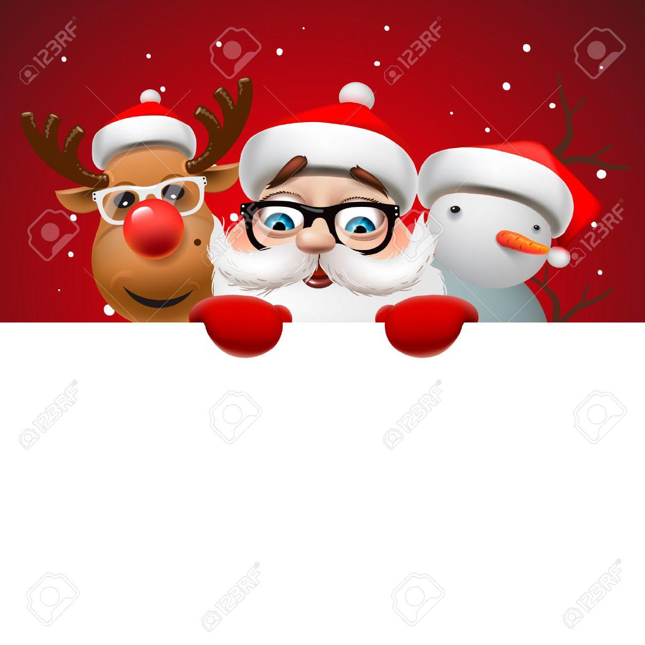 Grußkarte, Weihnachtskarte mit Santa Claus, Hirsch und Schneemann, Vektor-Illustration. Standard-Bild - 47864138