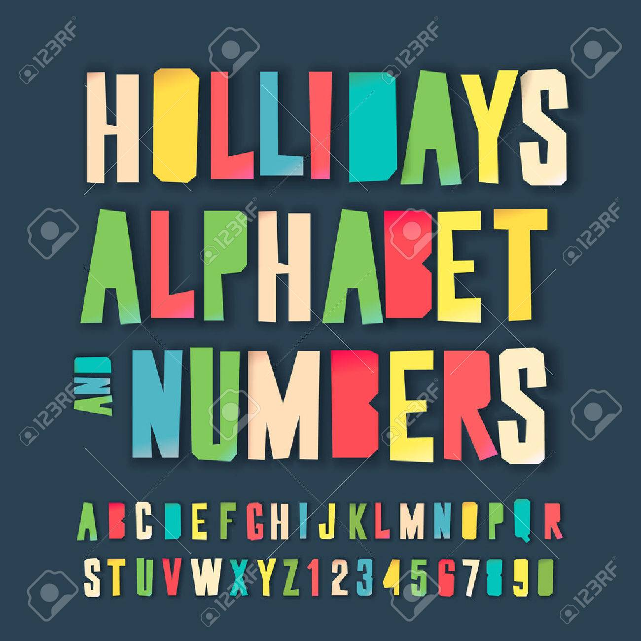Holidays Alphabet And Numbers Colorful Art And Craft Design