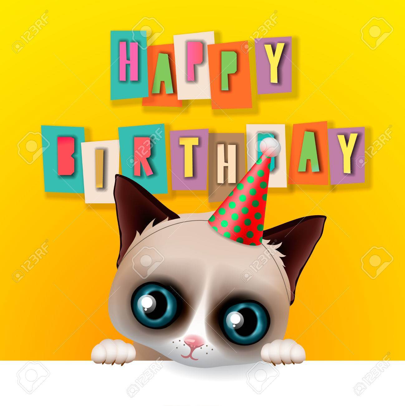 Cute happy birthday card with fun grumpy cat hipster design cute happy birthday card with fun grumpy cat hipster design vector illustration stock bookmarktalkfo Choice Image