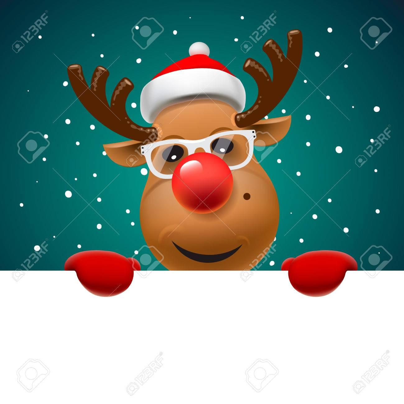 Grußkarte, Weihnachtskarte mit Rentier mit weißen Seite, Vektor-Illustration. Standard-Bild - 47864160