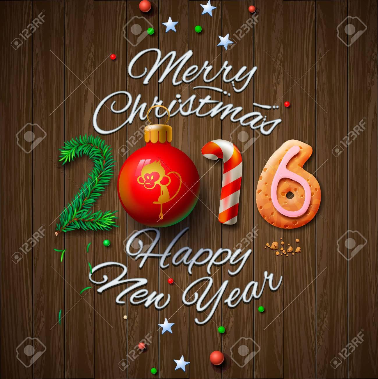 Frohe Weihnachten und ein gutes neues Jahr 2016 Grußkarte, Vektor-Illustration. Standard-Bild - 47864173
