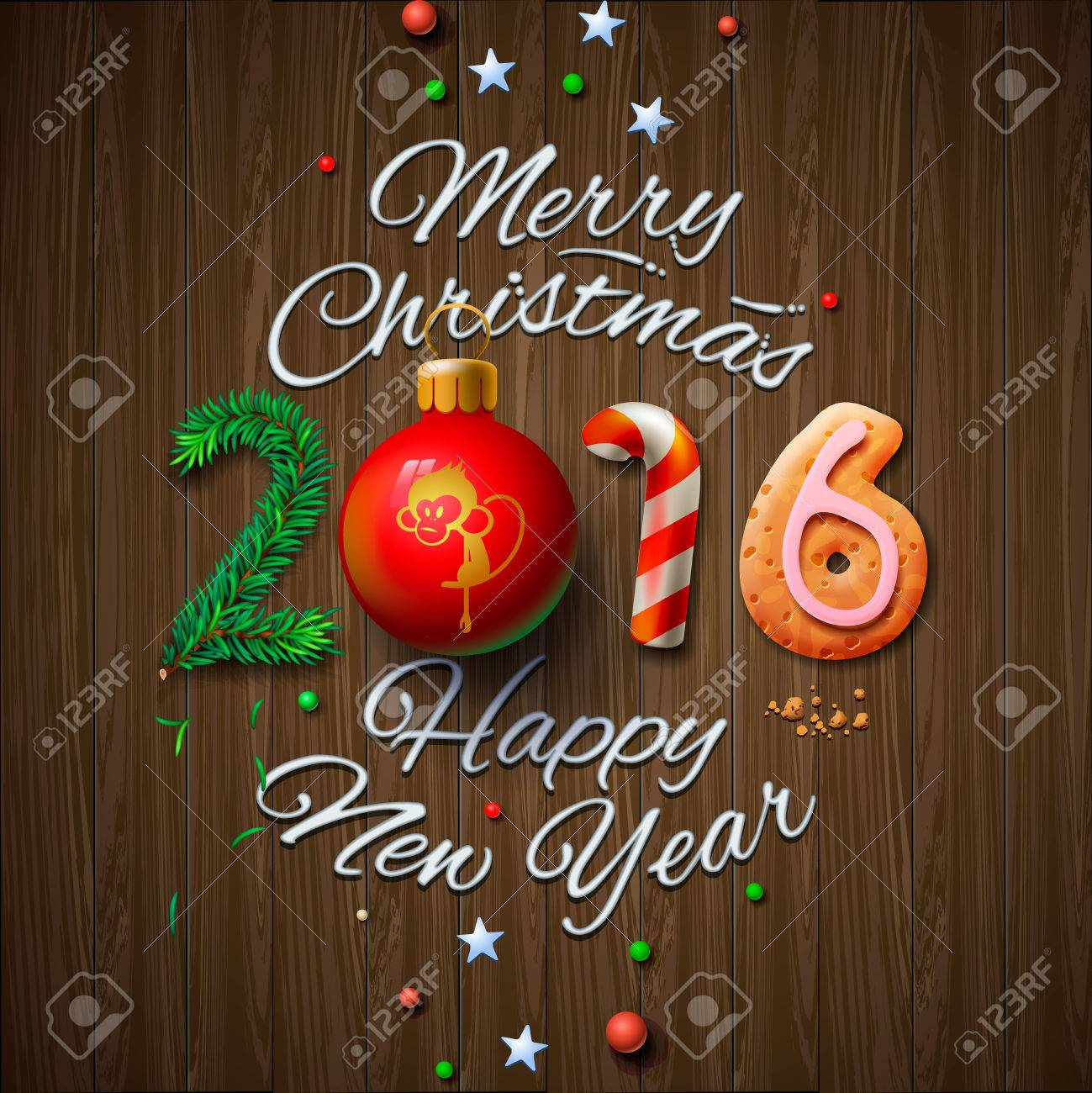 Merry Christmas and Happy New Year 2016 greeting card, vector illustration. Standard-Bild - 47864173