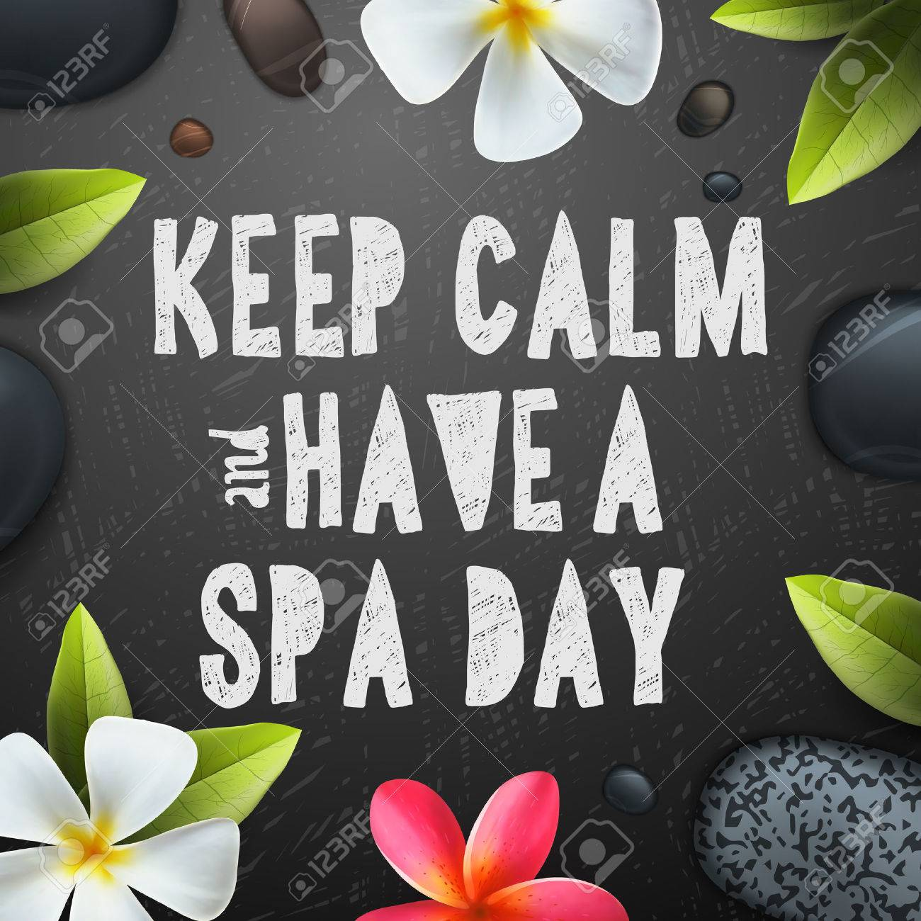 Keep calm have a Spa day, healthcare and beauty template for spa, vector illustration. Standard-Bild - 47864210