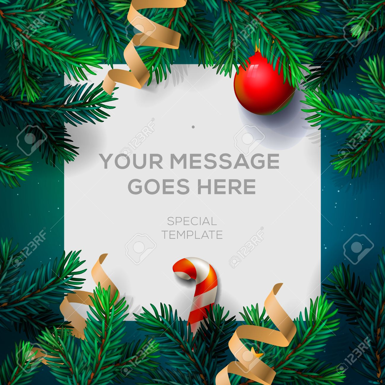 Merry Christmas greeting card with Chrirstmas decor fir twigs and confetti, vector illustration. Standard-Bild - 47864260