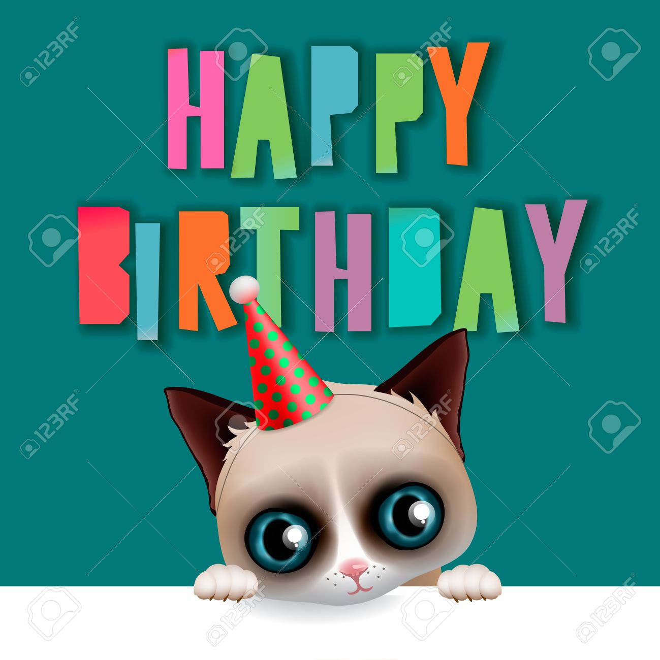 Cute happy birthday card with fun grumpy cat hipster design cute happy birthday card with fun grumpy cat hipster design vector illustration stock bookmarktalkfo Image collections