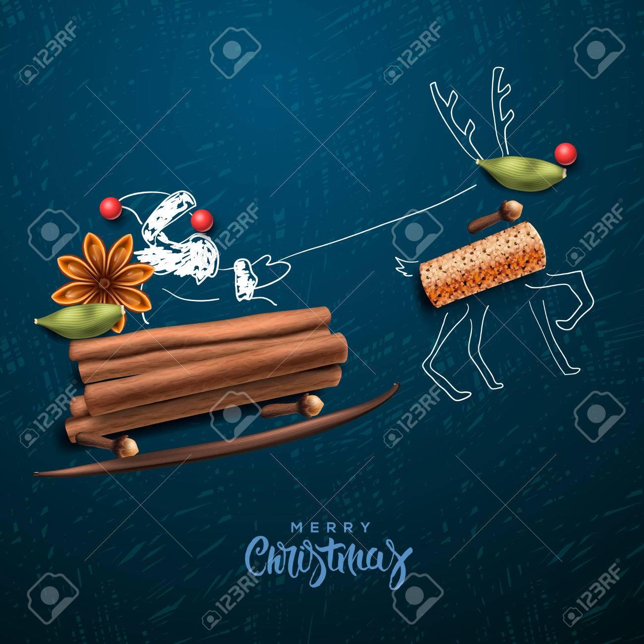 Weihnachtsmann fliegen in einem Schlitten Standard-Bild - 48425014
