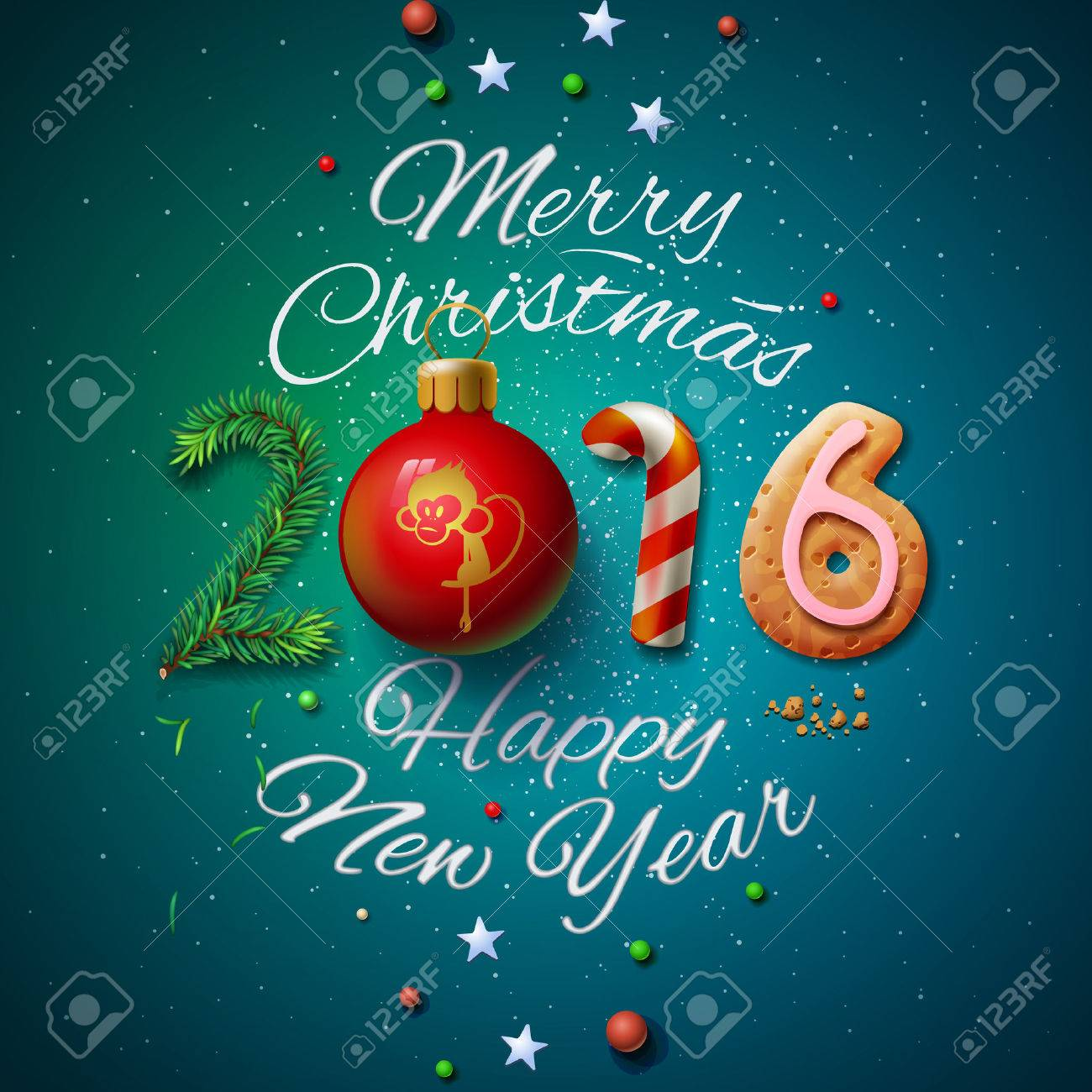 Merry Christmas and Happy New Year 2016 greeting card Standard-Bild - 48425021