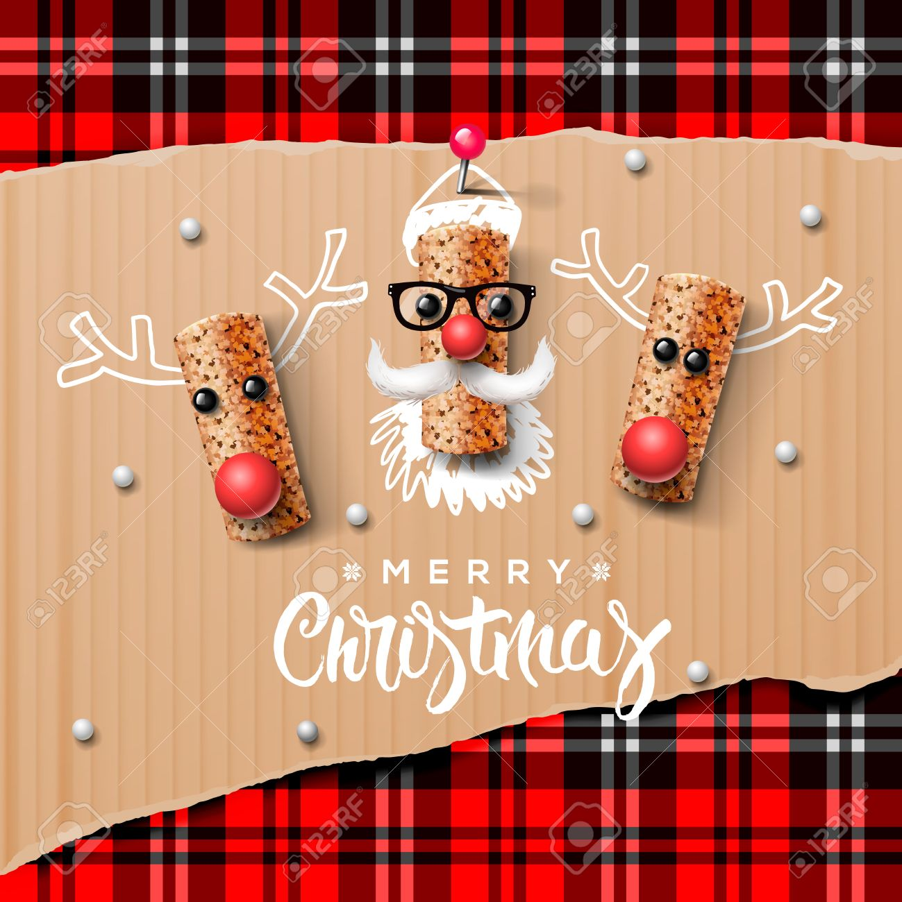 Christmas characters Santa Claus and reindeer made from wine cork Standard-Bild - 48425023