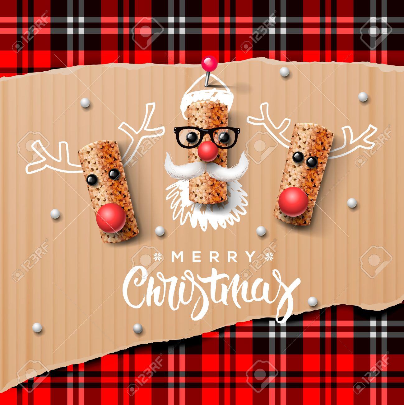 Weihnachten Zeichen Weihnachtsmann und Ren aus Wein Kork Standard-Bild - 48425023