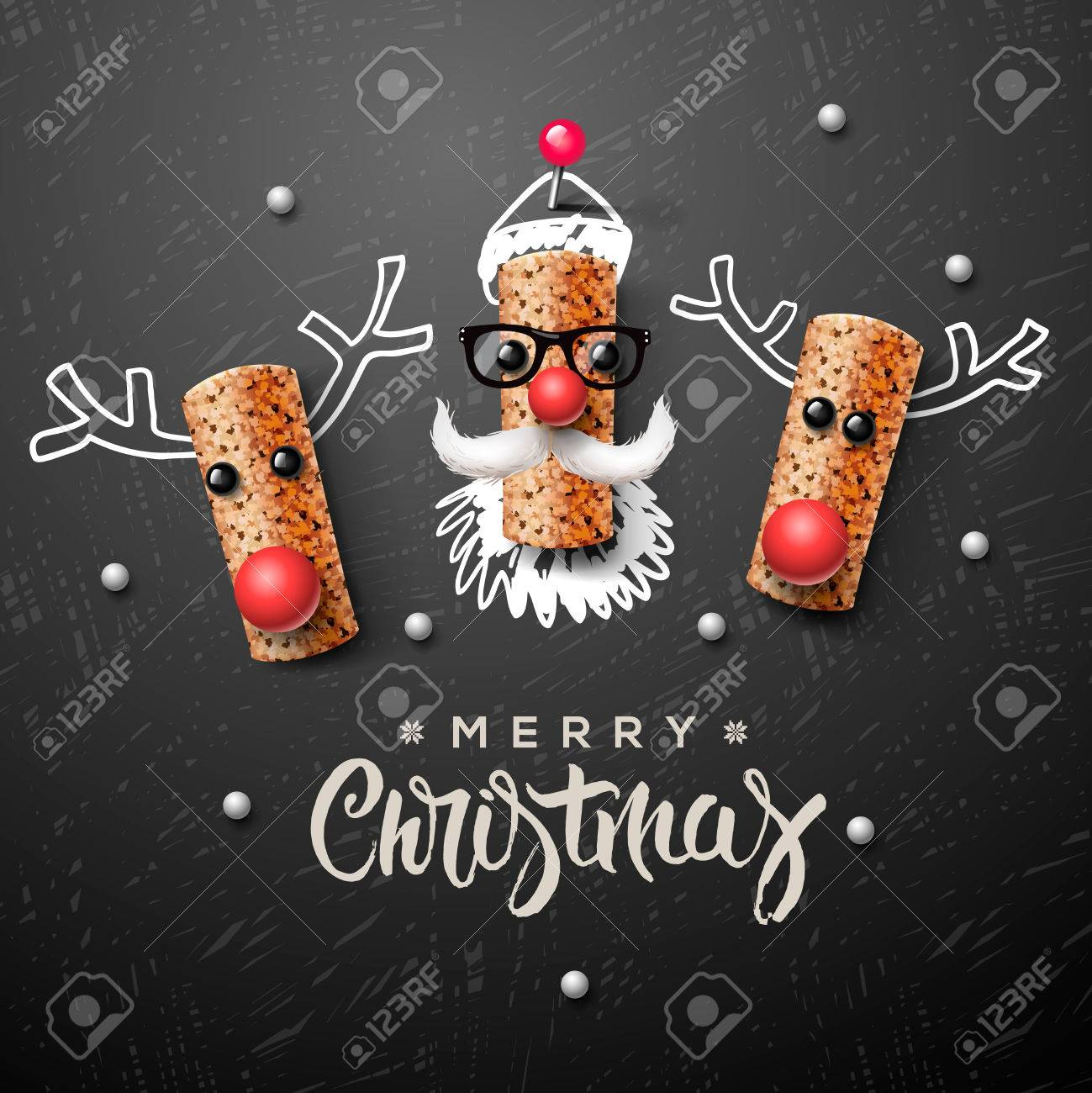 Santa Claus and reindeer made from wine cork Standard-Bild - 48425169