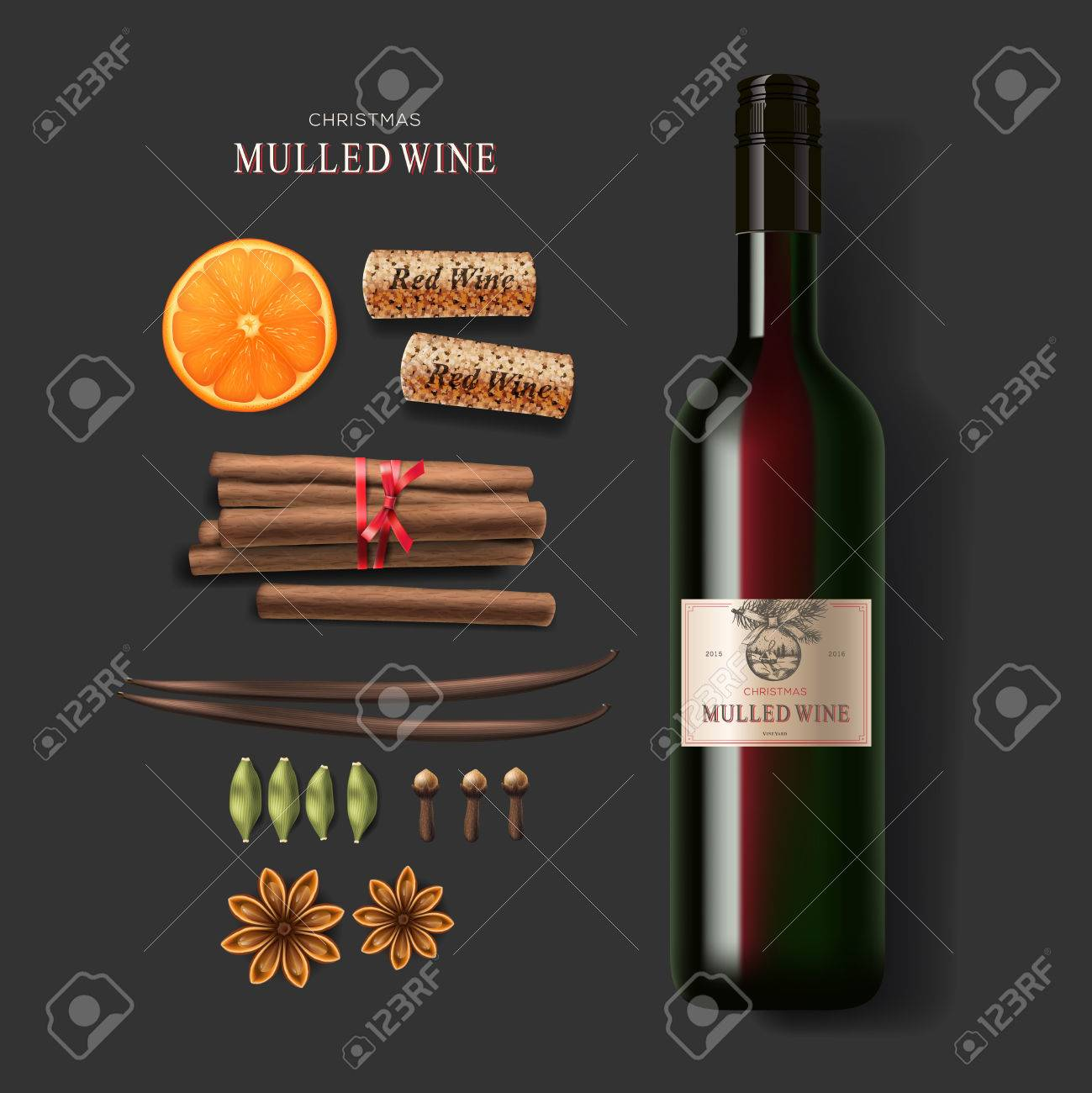 Christmas drink mulled wine bottle of wine and ingredients Standard-Bild - 48425172