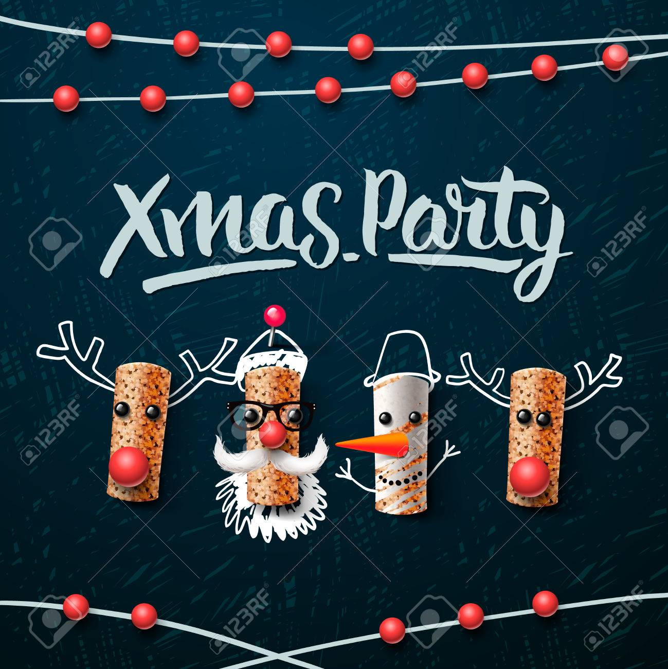 Christmas party template, Christmas characters, Santa Claus, snowman and reindeer, made from wine cork, vector illustration. Standard-Bild - 49477273