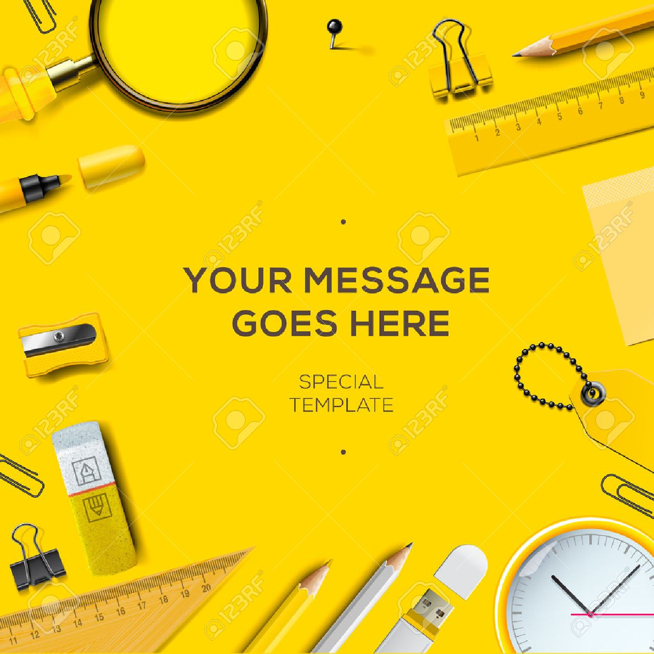 Colorful school supplies, yellow background, vector illustration. Standard-Bild - 49477276