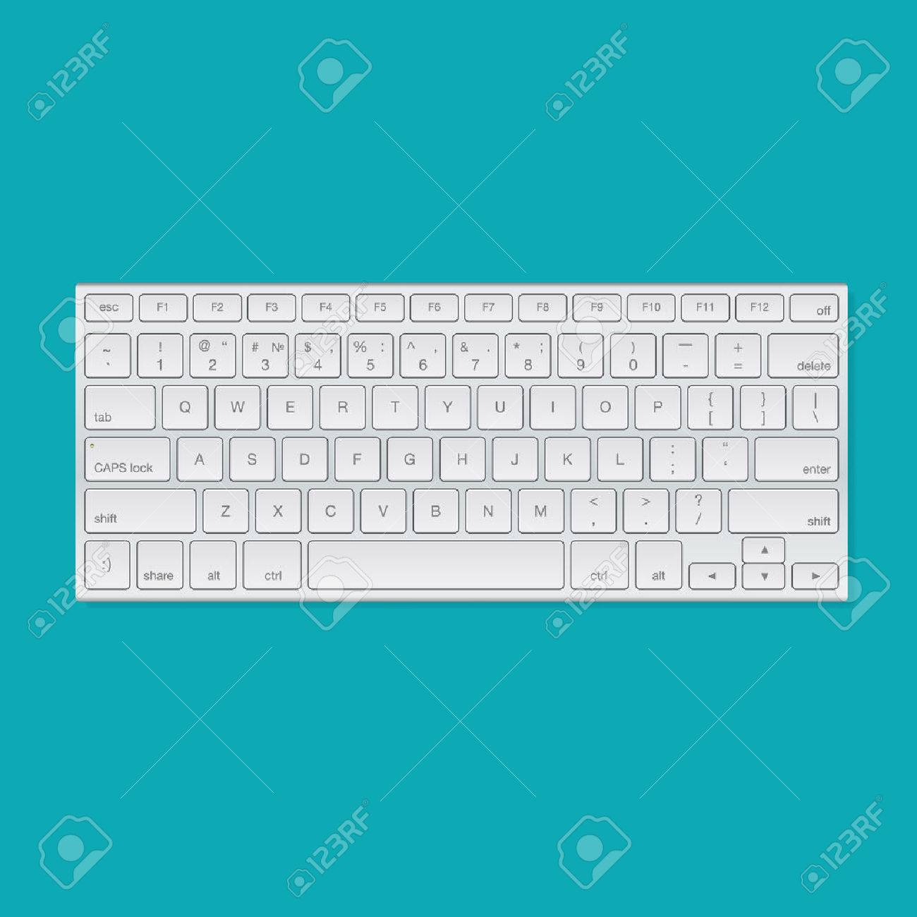 Computer keyboard, isolated on blue background, vector illustration. Standard-Bild - 49477451