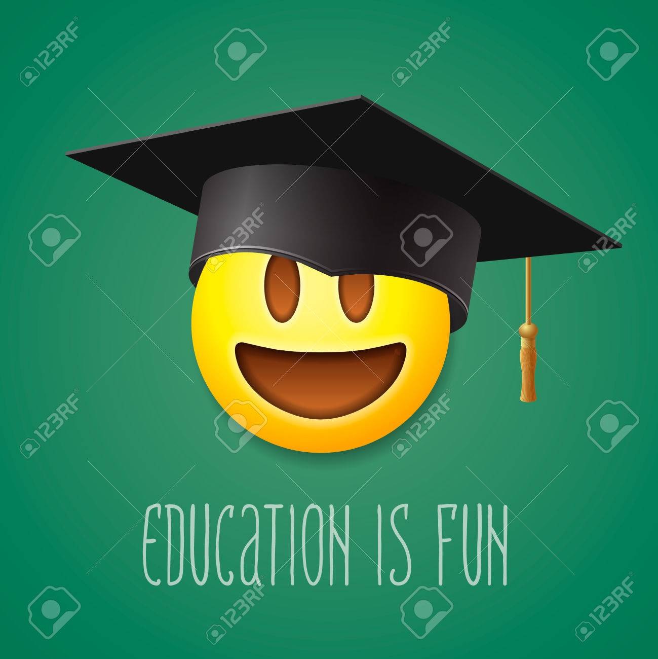 Education is fun emoticon laughing in the mortarboard emoji education is fun emoticon laughing in the mortarboard emoji smile symbol vector illustration biocorpaavc Images