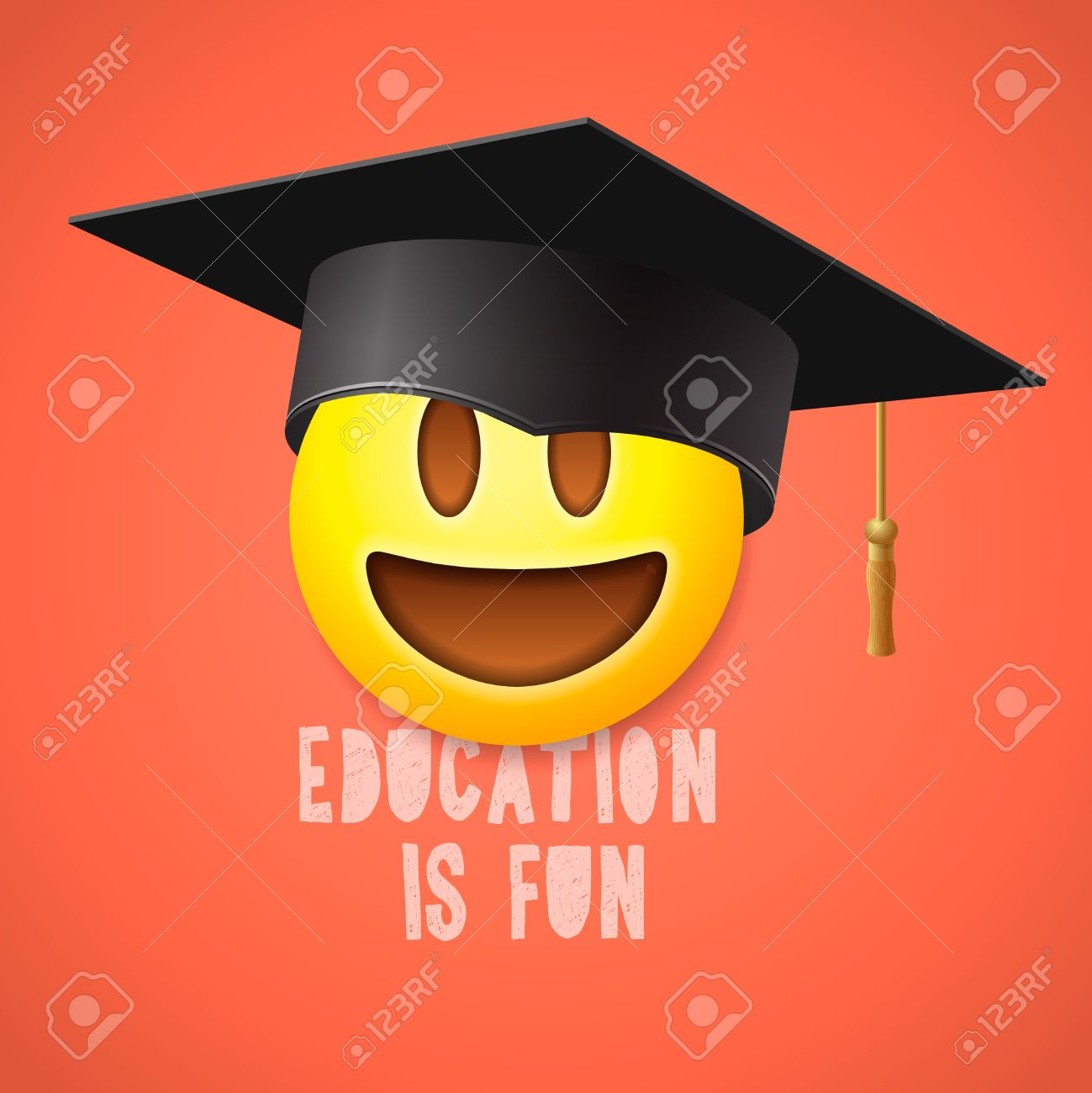 Education is fun emoticon laughing in the mortarboard emoji education is fun emoticon laughing in the mortarboard emoji smile symbol stock vector biocorpaavc Images