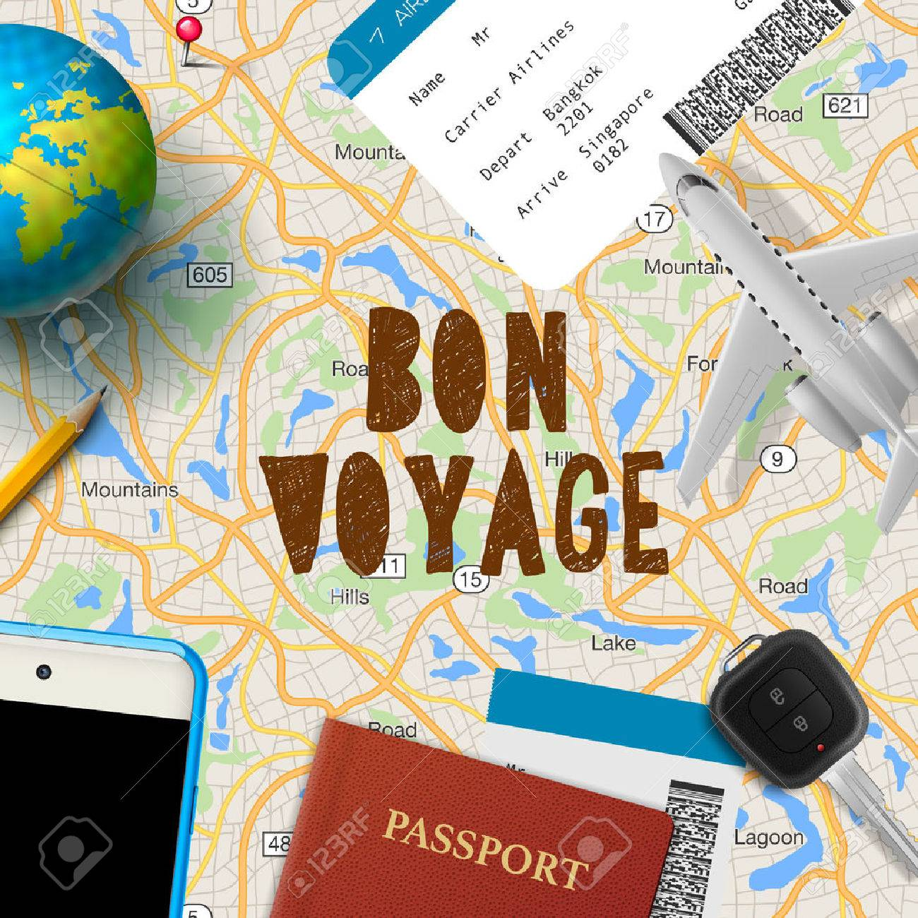 Bon voyage, planning vacation trip with map, cell phone, money, passport, road, vector illustration. Standard-Bild - 49592610