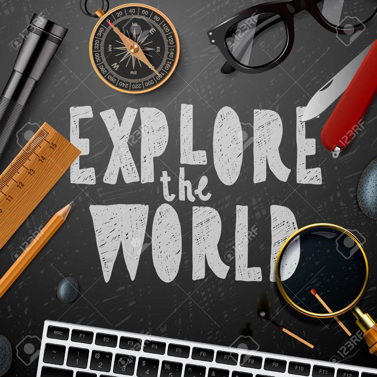 Entdecken Sie die wold, Reisen und Tourismus Hintergrund, Illustration. Standard-Bild - 50064316