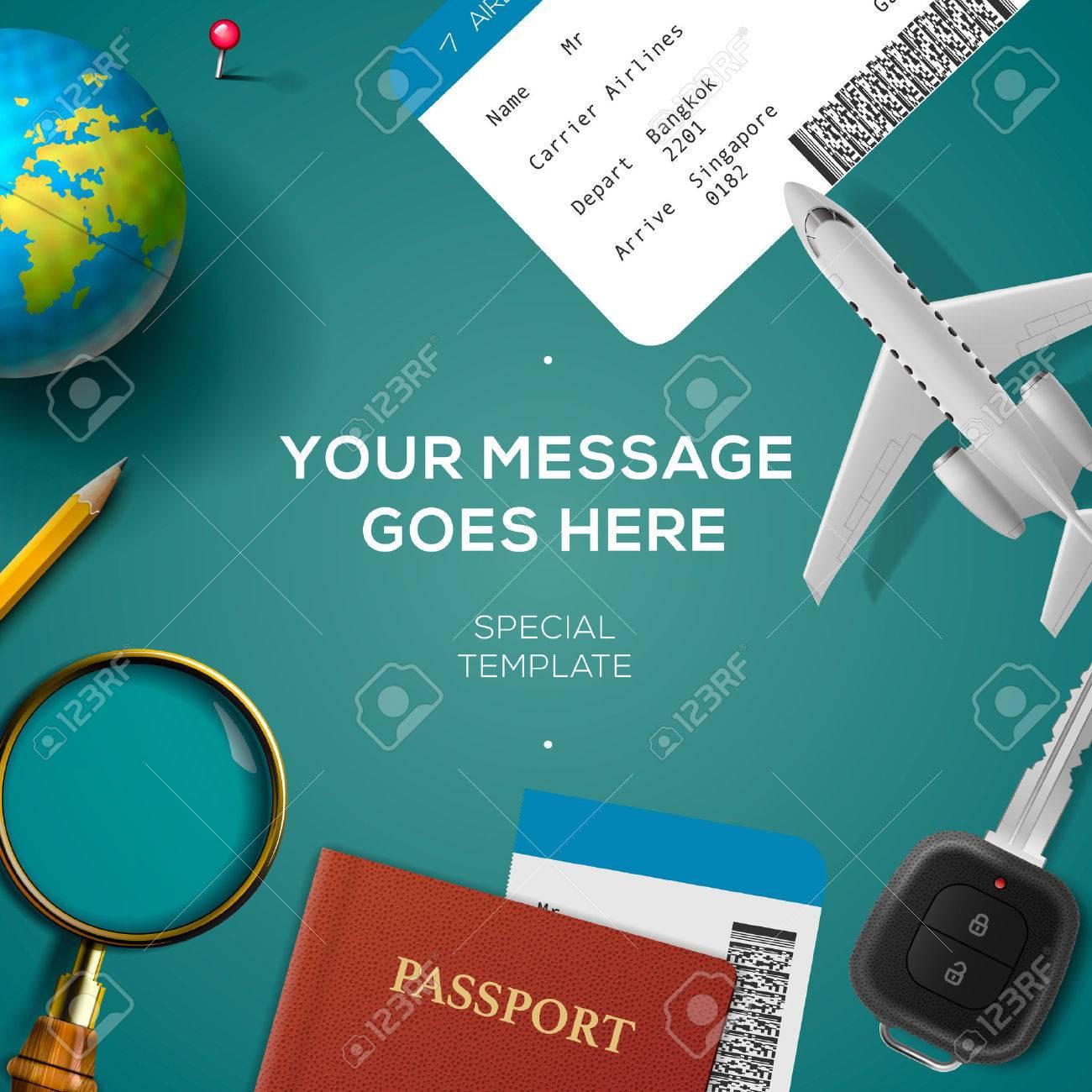 Reisen Vorlage Mit Flugzeugmodell, Smartphone, Flugticket, Reisepass ...