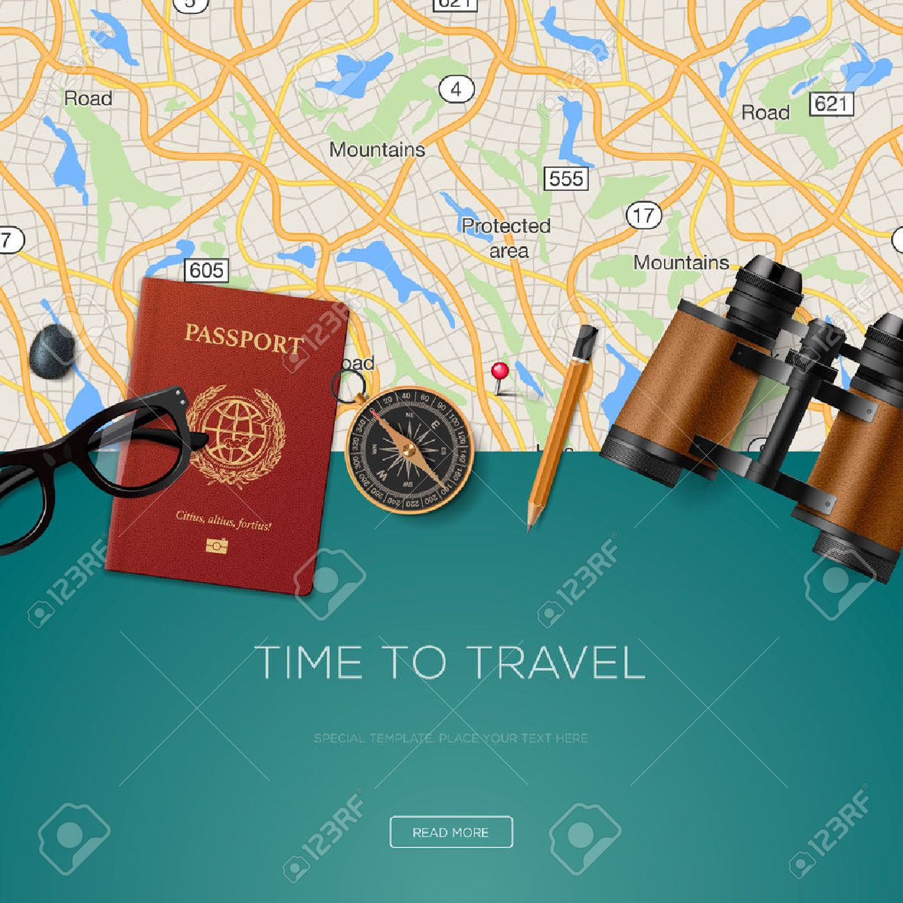 Travel and adventure template, time to travel, for tourism website, illustration. Stock Vector - 50067483
