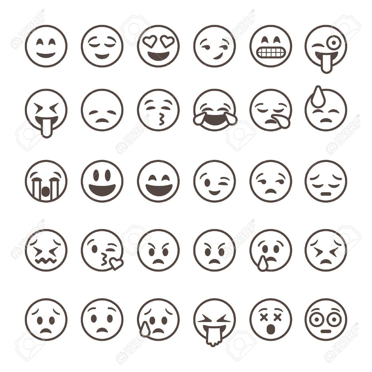 Set of outline emoticons, emoji isolated on white background, vector illustration. Standard-Bild - 53022847