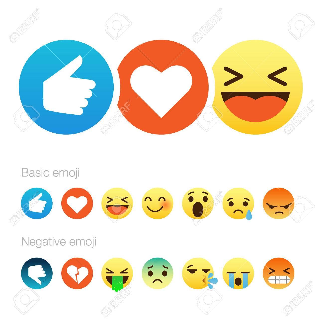 Set of cute smiley emoticons, emoji flat design, vector illustration. Standard-Bild - 53022852