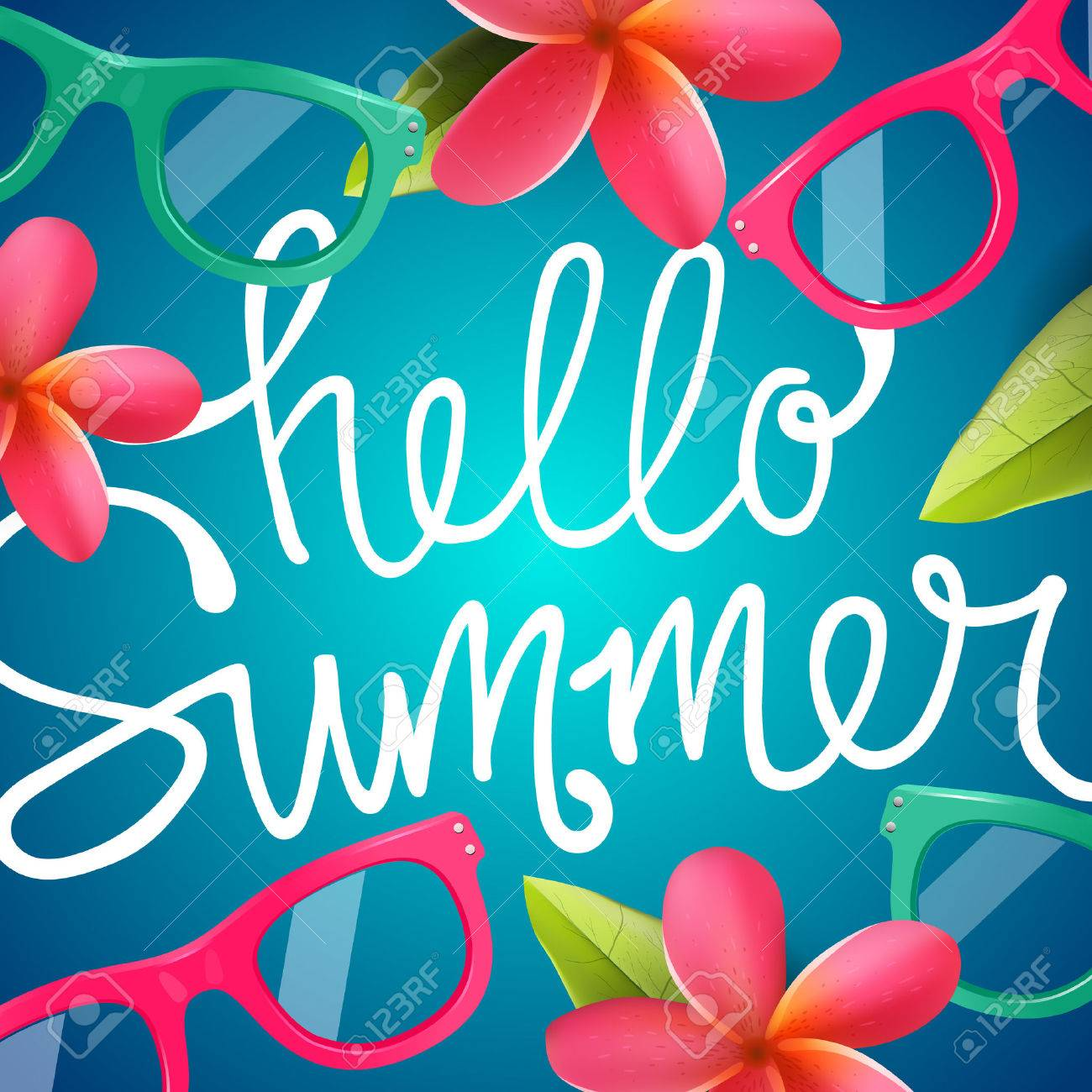 Hello summer, colorful background with Frangipani tropical flowers, vector illustration. Standard-Bild - 53577541