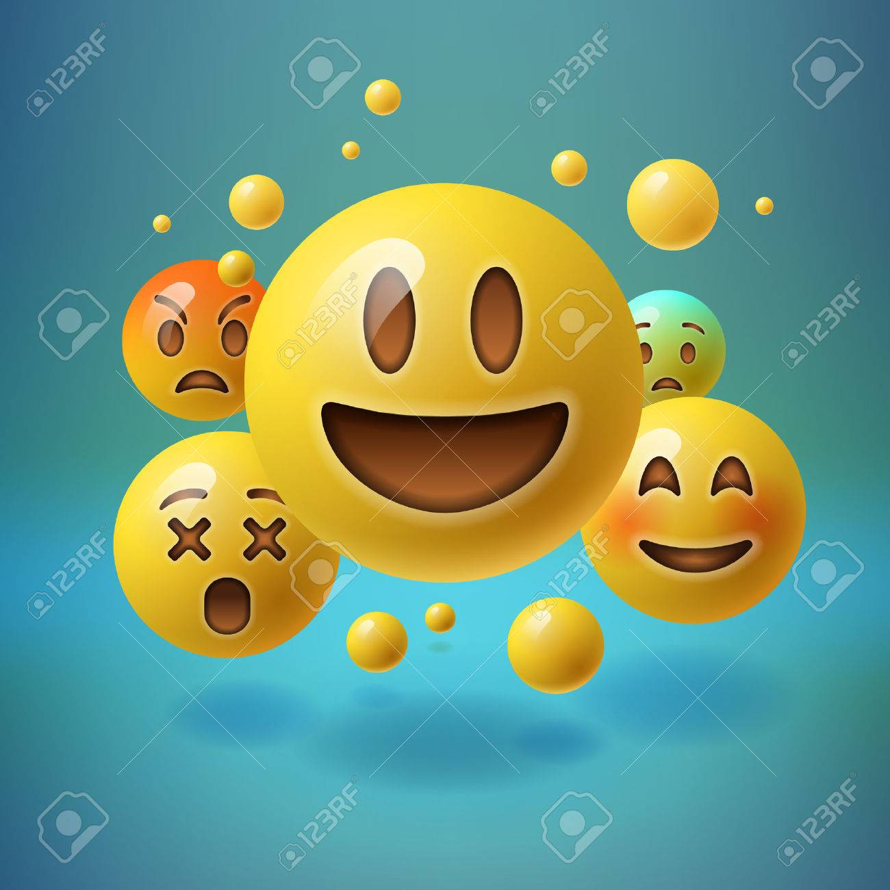 Smiley emoticons, emoji, social media concept, vector illustration. Standard-Bild - 55728717