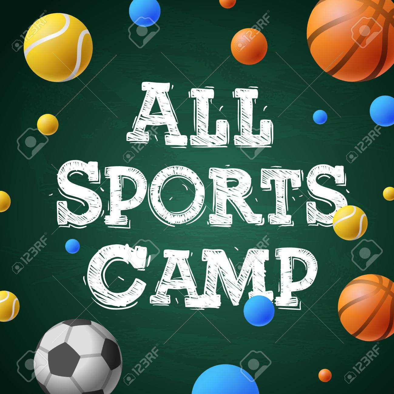 Sports summer training camp, themed poster, sports games, vector illustration. - 57589411