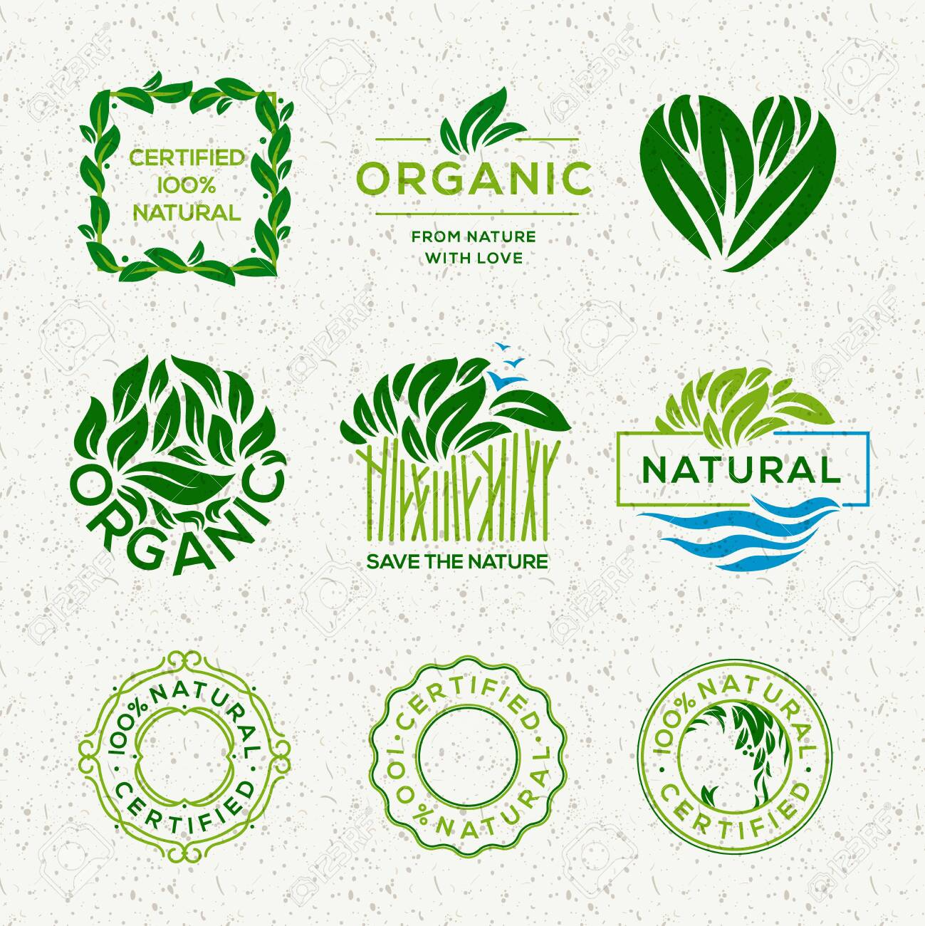 Organic food labels and elements, set for food and drink, restaurants and organic products vector illustration. - 120766316