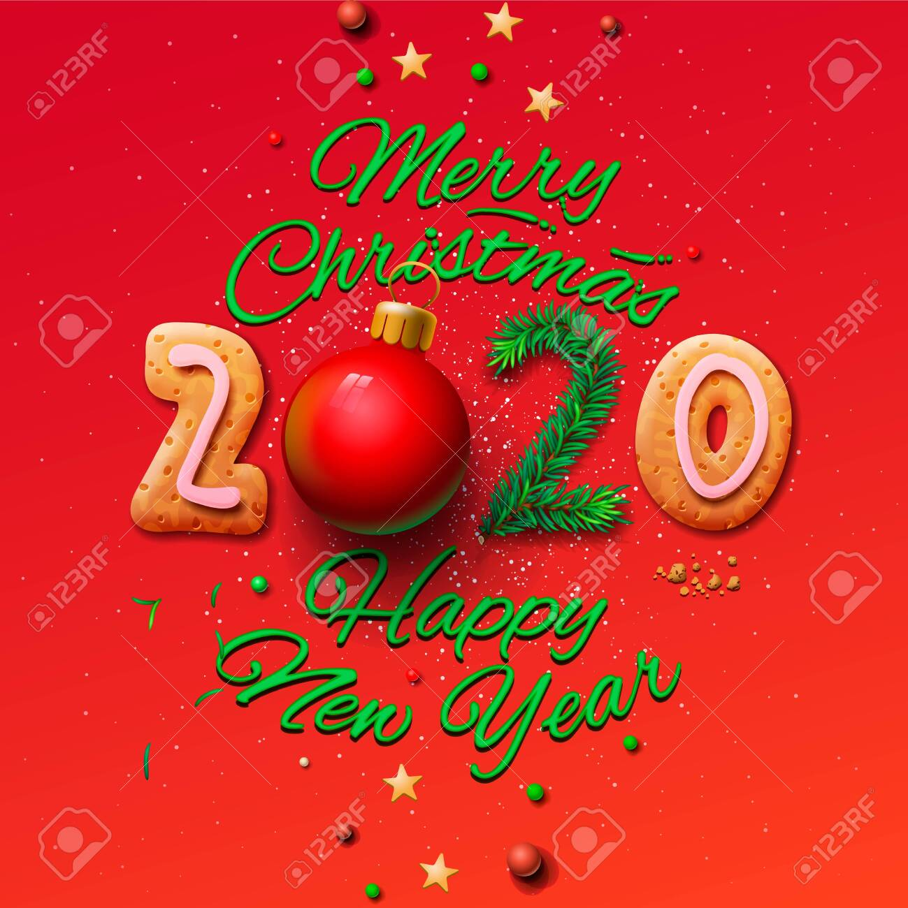Merry Christmas And Happy New Year 2020 Greeting Card, Vector