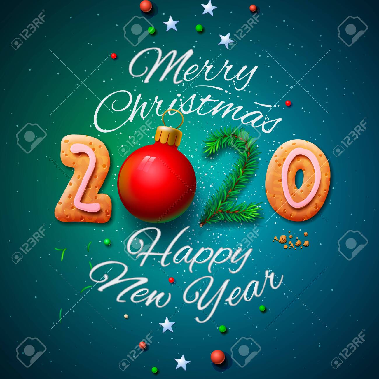 Christmas 2020.Merry Christmas And Happy New Year 2020 Greeting Card Vector