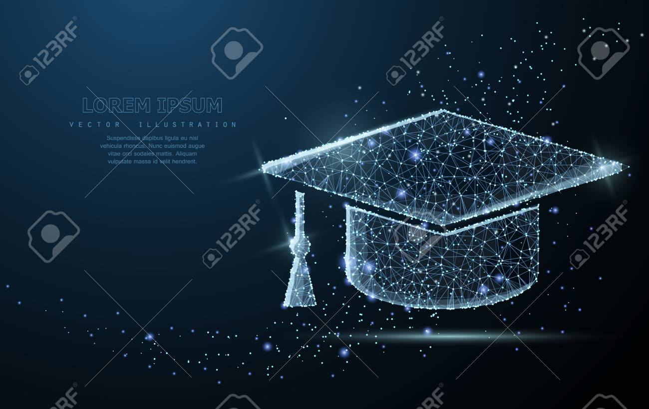 Graduate cap. Polygonal wireframe mesh looks like constellation. Education, university, success illustration or background - 97130903