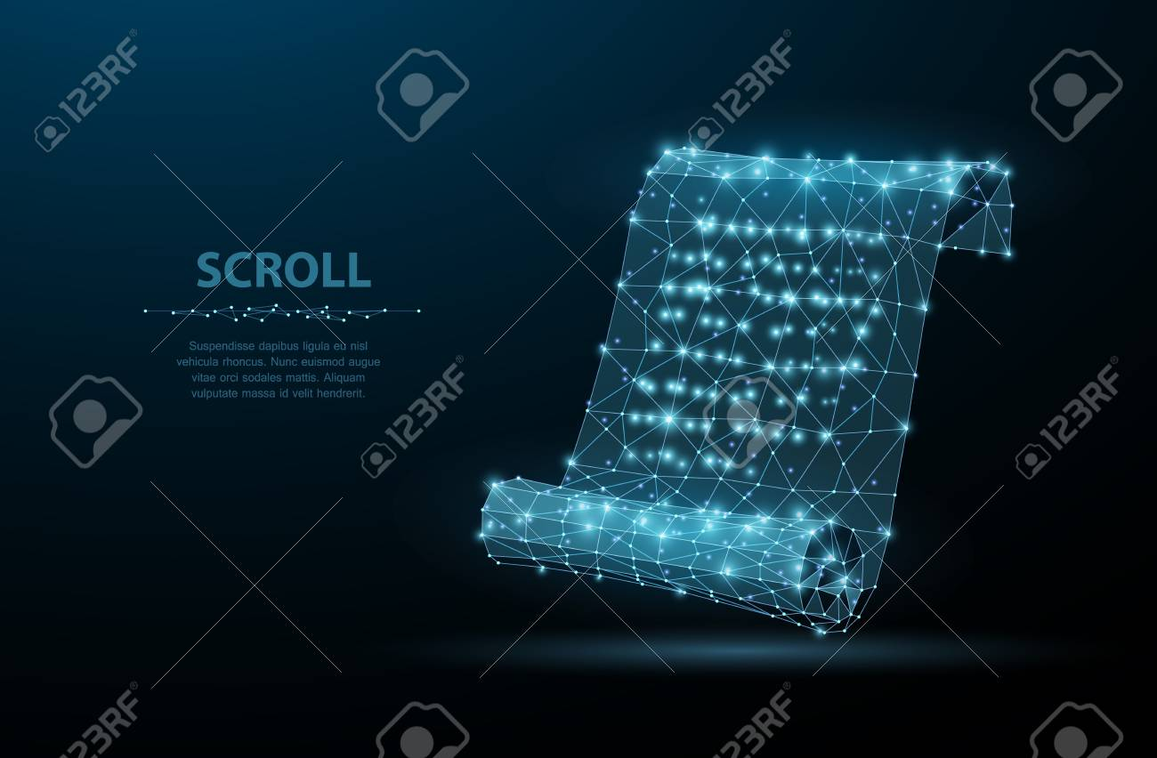 Scroll. Low poly wireframe mesh looks like constellation on blue night sky with dots and stars. Vintage, message symbol, illustration or background - 98110320
