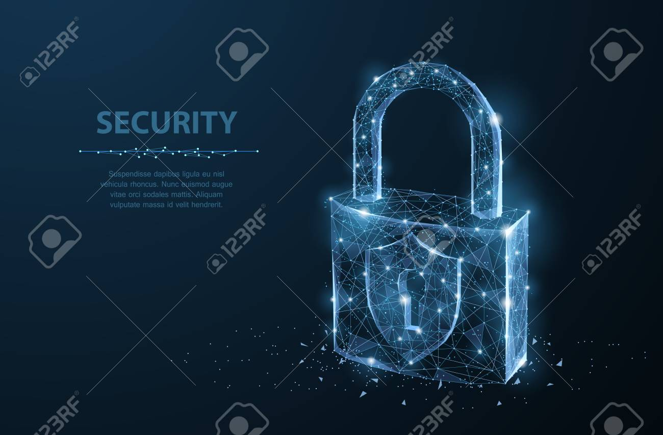 Lock. Polygonal wireframe mesh looks like constellation on dark blue night sky with dots and stars. Security, safe, privacy or other concept illustration or background - 99162046