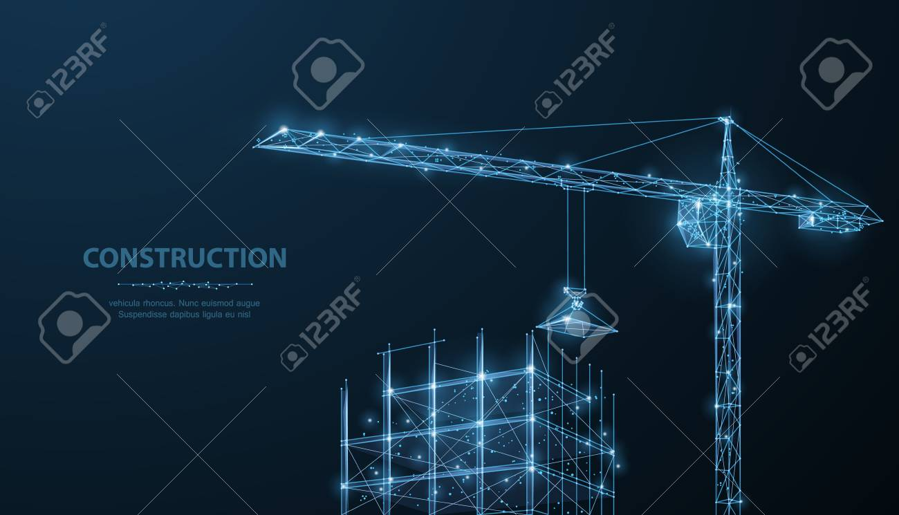 Construction. Polygonal wireframe building under crune on dark blue night sky with dots, stars. - 104645590