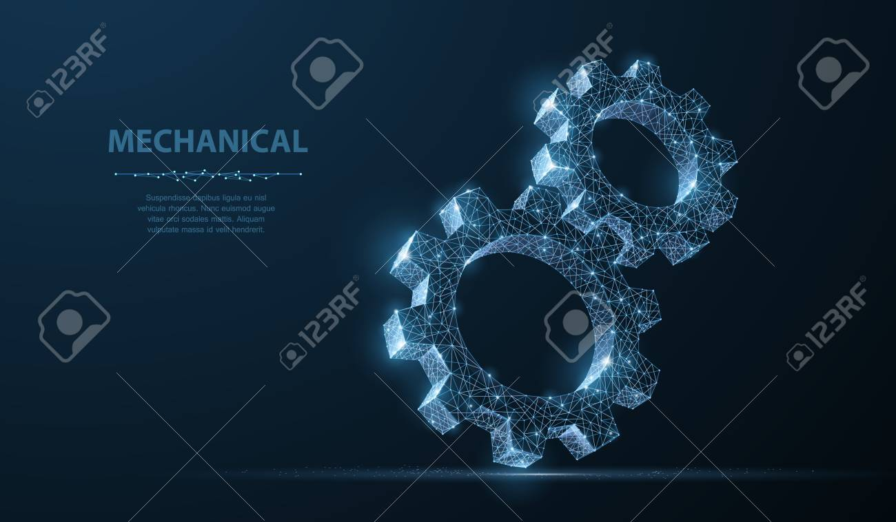 Gears. Abstract vector wireframe two gear 3d modern illustration on dark blue background. Mechanical technology machine engineering symbol. Industry development, engine work, business solution concept - 111997463