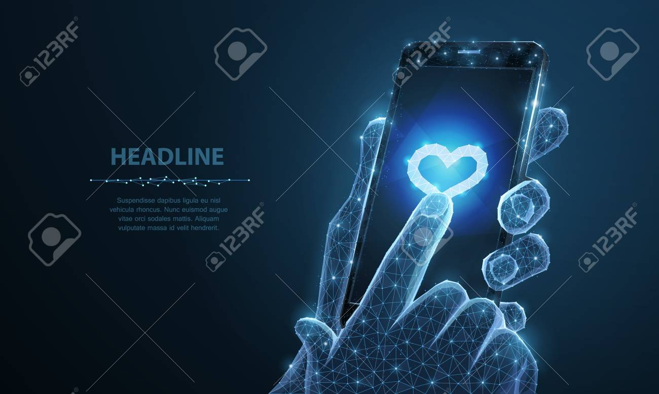 Mobile phone. Abstract vector Illustration of smartphone heart icon app. Isolated background. Valentine day, love romance, like follower, friend sms, happy symbol. Health heart, pulse device concept - 127692922
